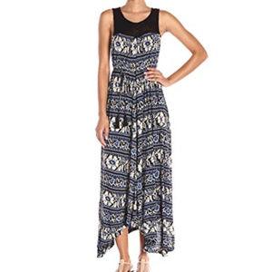 Lucky Brand blue Crochet Yoke Dress